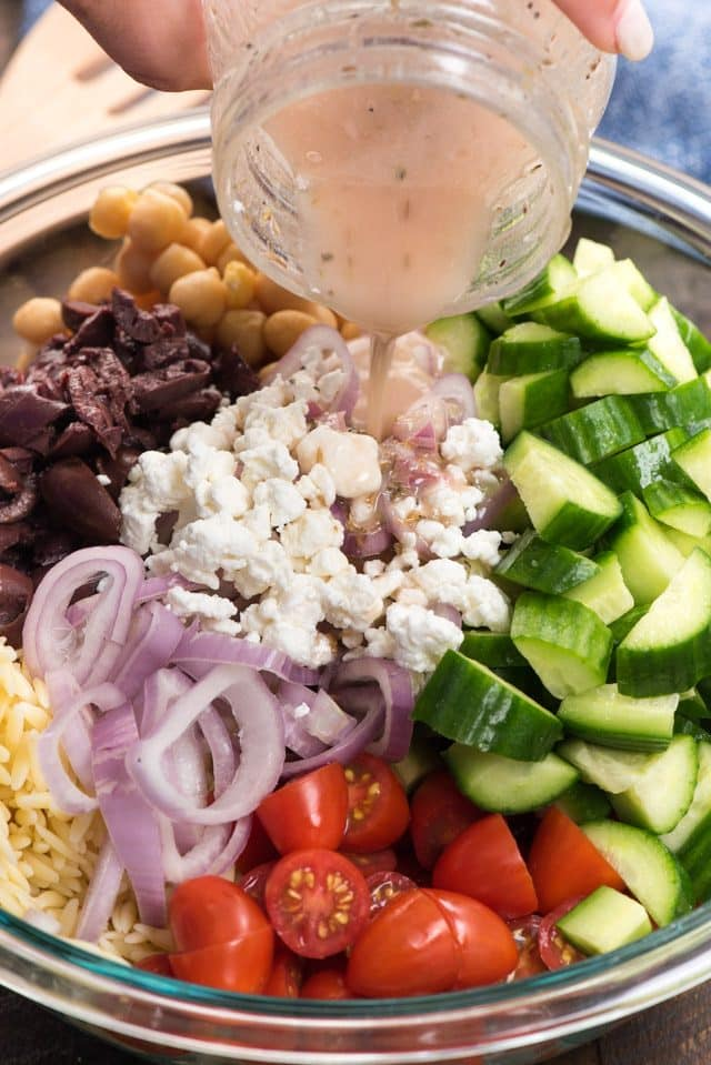 Greek Pasta Salad Recipe with a homemade Greek salad dressing