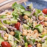 overhead shot of greek pasta salad