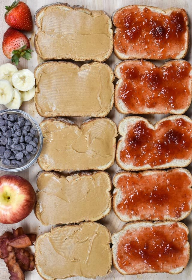 overhead shot of PB&J