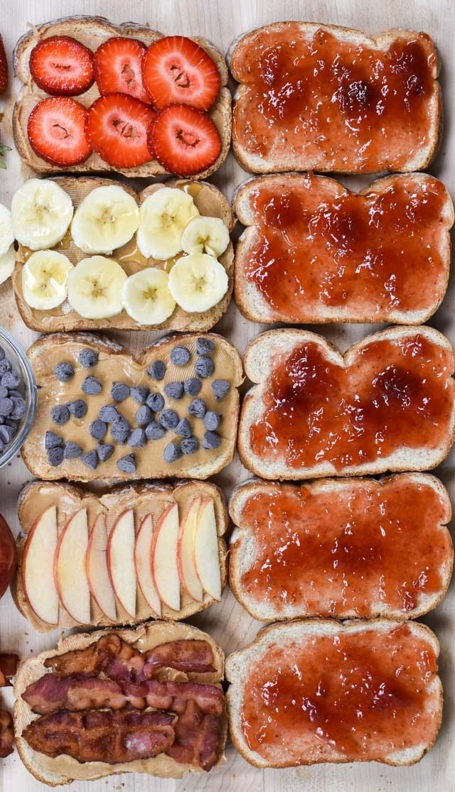 10 slices of bread with different toppings you can use with PB&J