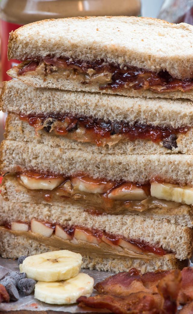 stack of PB&J sandwiches