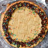 overhead shot of peanut butter cookie cake