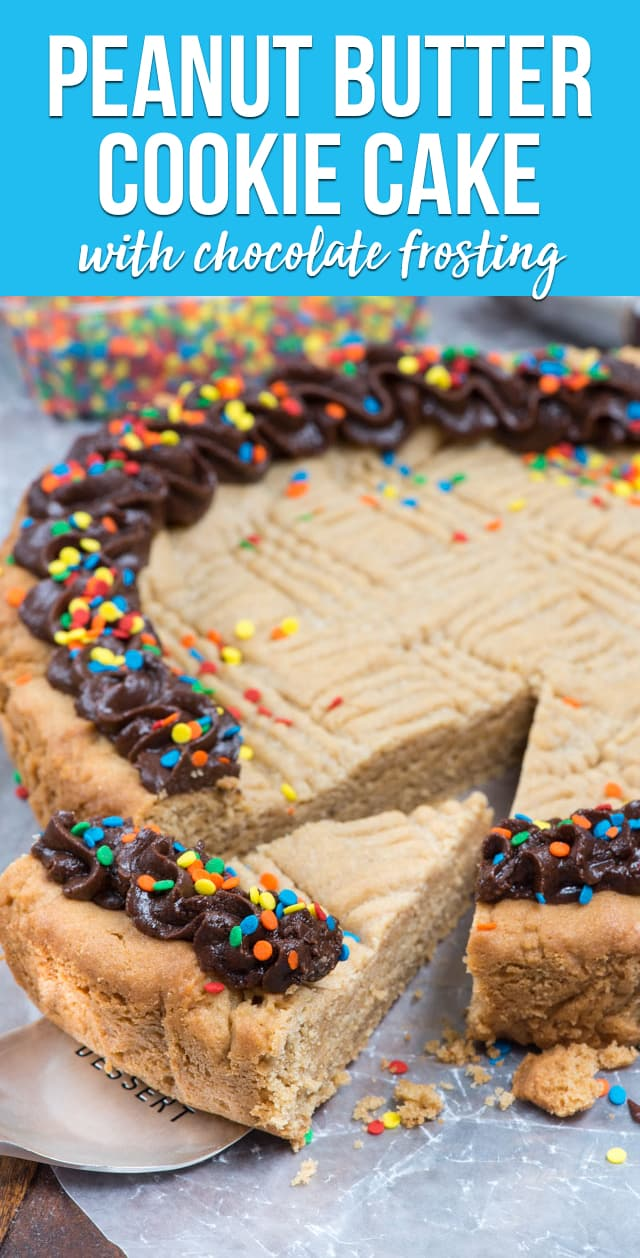 The BEST ever peanut butter cookie cake has a chocolate frosting. It's a giant peanut butter cookie in the shape of a cake!