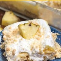 pineapple dream dessert recipe slice on blue plate