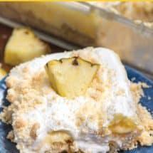 pineapple dream dessert recipe slice on blue plate