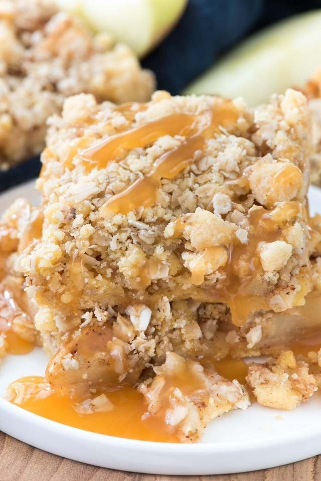 stack of apple crumble bars