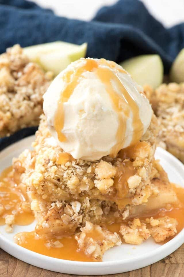 Apple Crumble Bars are an easy apple pie bar that start with a cake mix!
