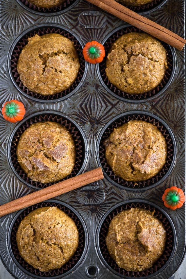 pumpkin muffins in muffin tin