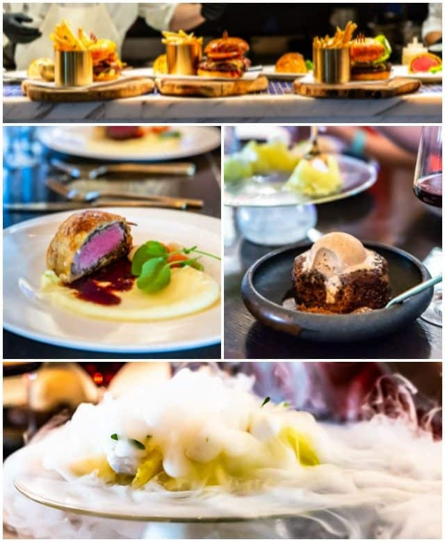 Collage of food from Hell's Kitchen in Las Vegas