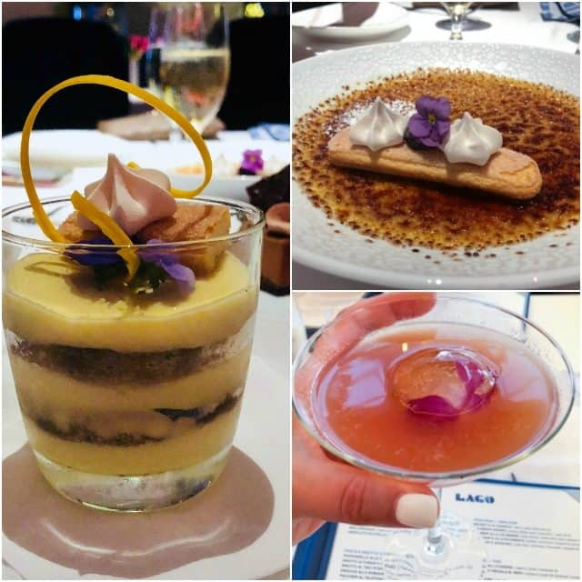 Collage of food and drinks from Lago in Las Vegas