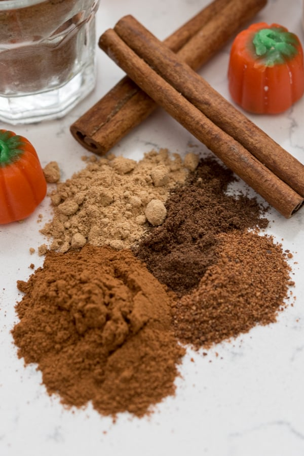 Different spices used for Pumpkin Pie on a counter