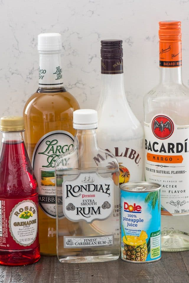 Ingredients for rum punch cocktail