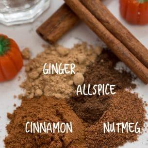 overhead shot of pumpkin pie spice ingredients