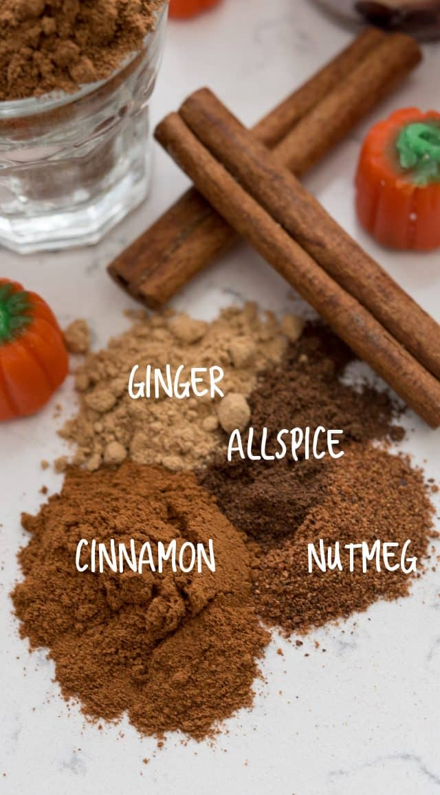 Different spices on a counter with writing