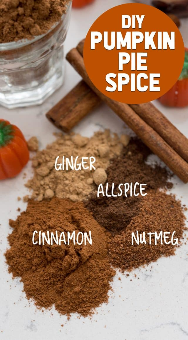 OVERhead shot of pumpkin pie spice mix ingredients
