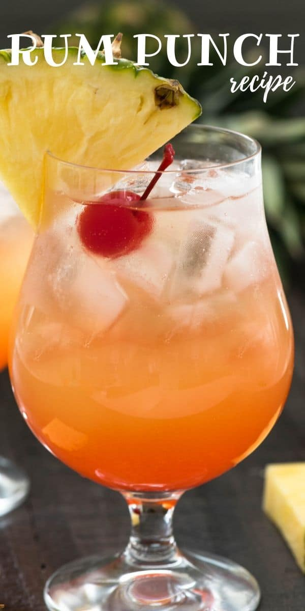 rum punch in a glass with words on photo