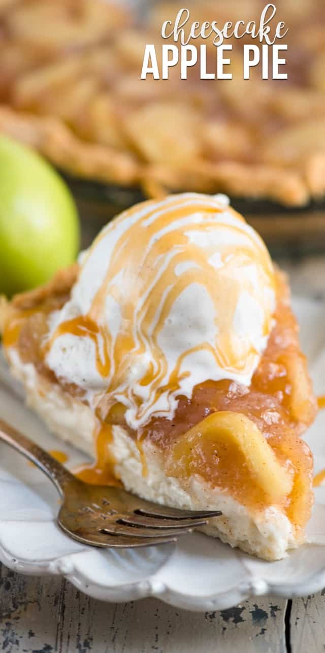 slice of cheesecake apple pie