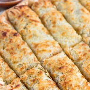 overhead shot of cheesy ranch breadsticks