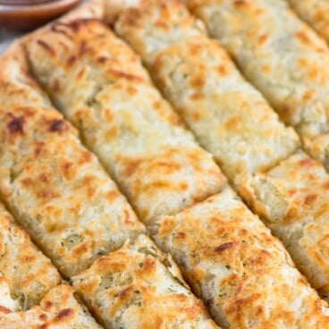 overhead shot of cheesy ranch breadsticks