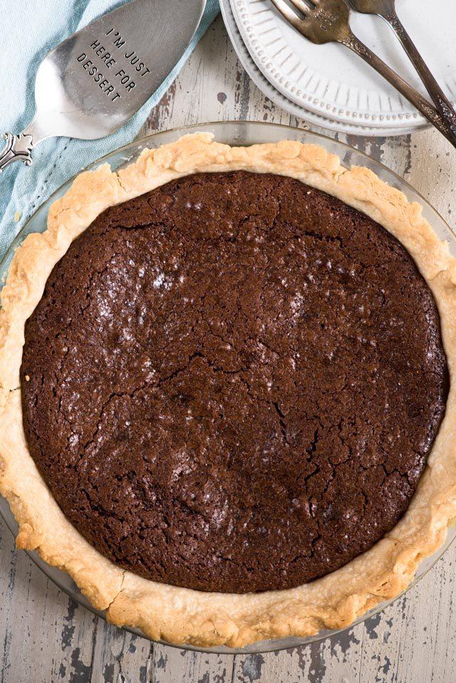 overhead shot of chocolate fudge pie