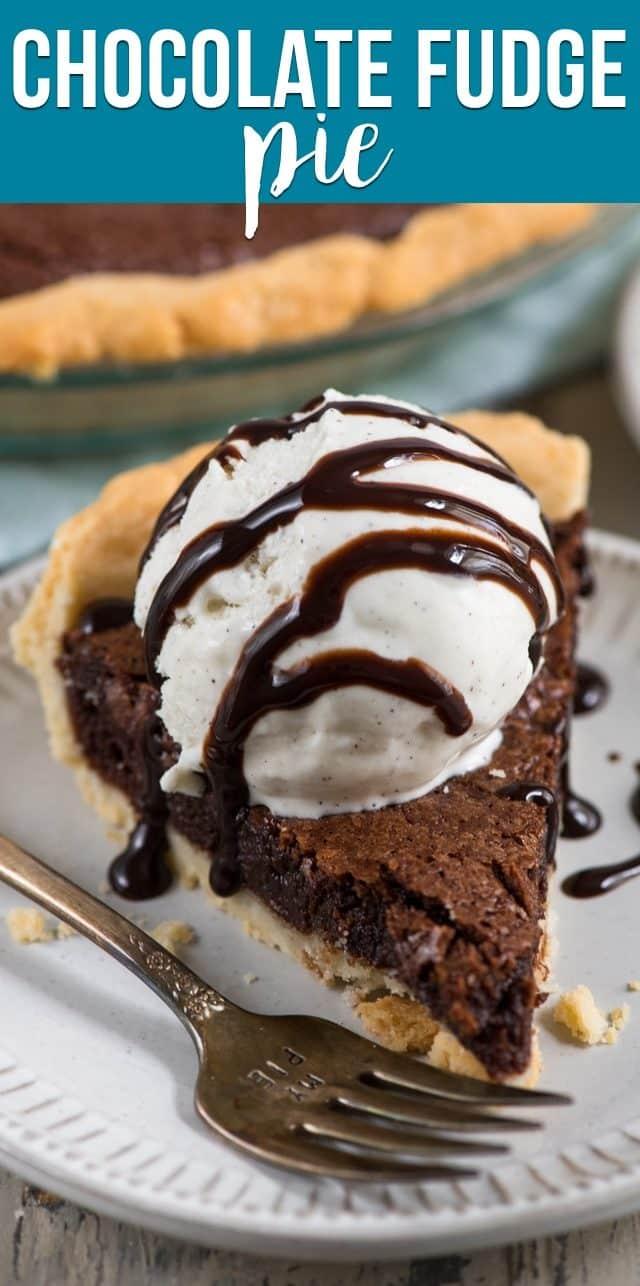 slice of chocolate fudge pie with ice cream