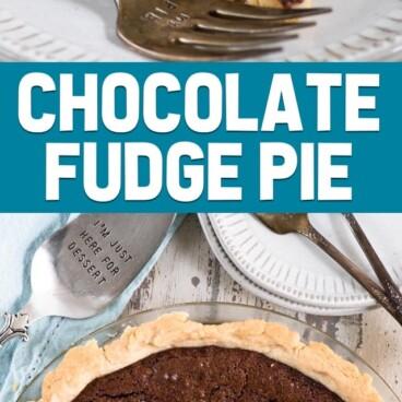 chocolate fudge pie collage