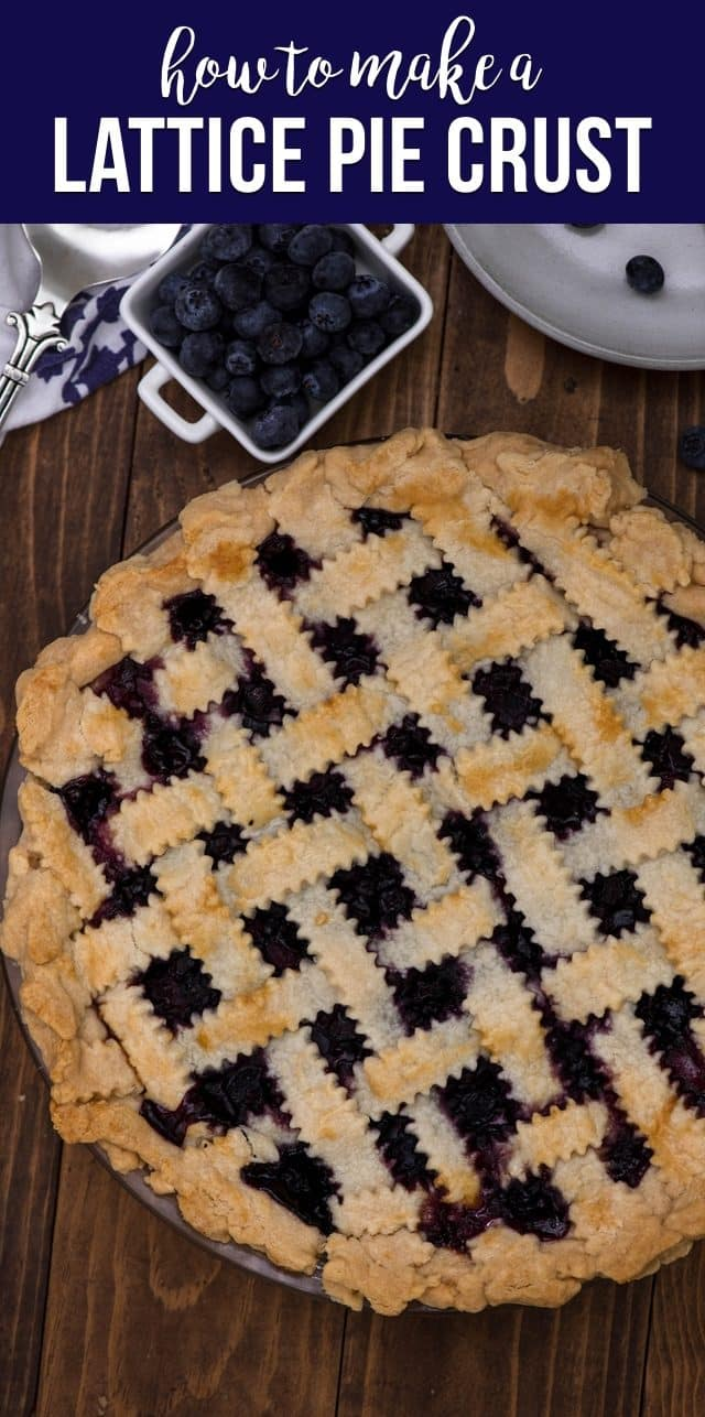 overhead shot of lattice top pie