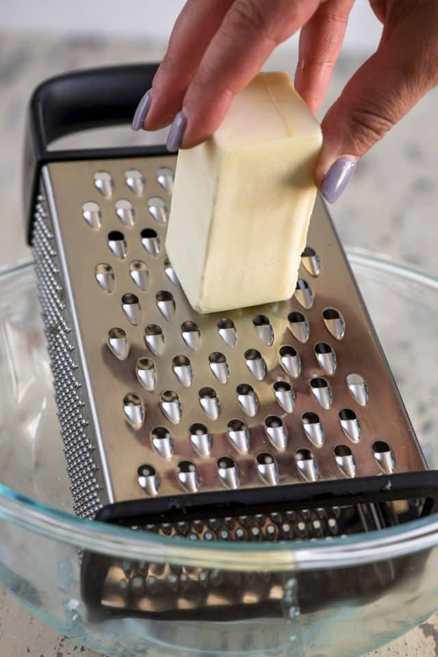 use a grater to grate the butter for crumble topping