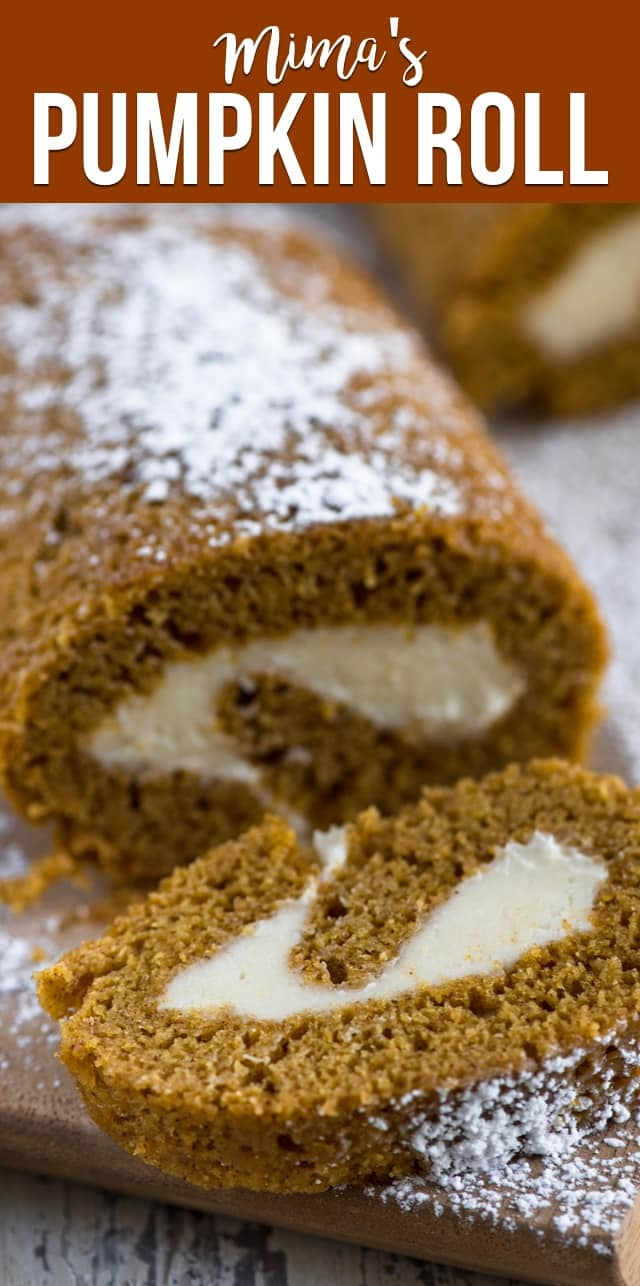 Mima's Pumpkin Roll is a family tradition! We've been making this easy pumpkin cake roll recipe for years. It makes one large or three small cake rolls!
