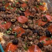 overhead shot of pizza pasta casserole