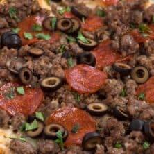 pizza pasta casserole overhead