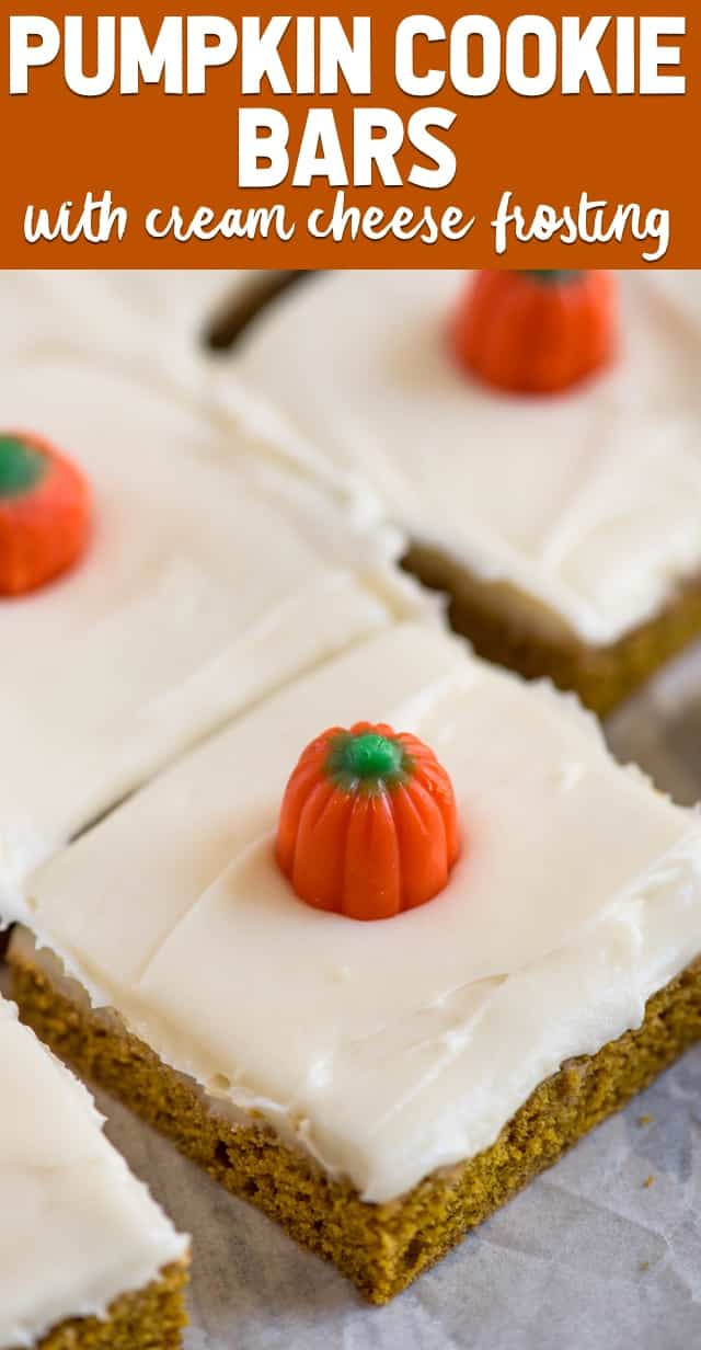 These Pumpkin Bars are a pumpkin cookie turned pumpkin bar with cream cheese frosting! We could not stop eating these pumpkin bars!