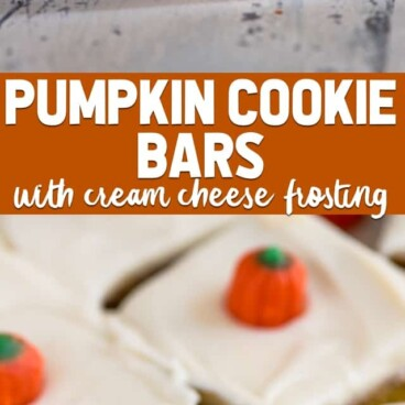 collage of pumpkin cookie bar recipe