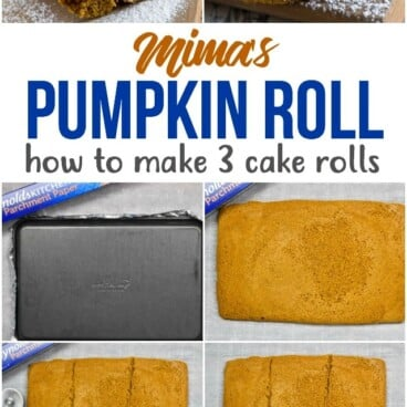 collage of how to make a pumpkin roll