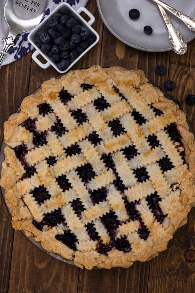 overhead shot of blueberry pie with lattice