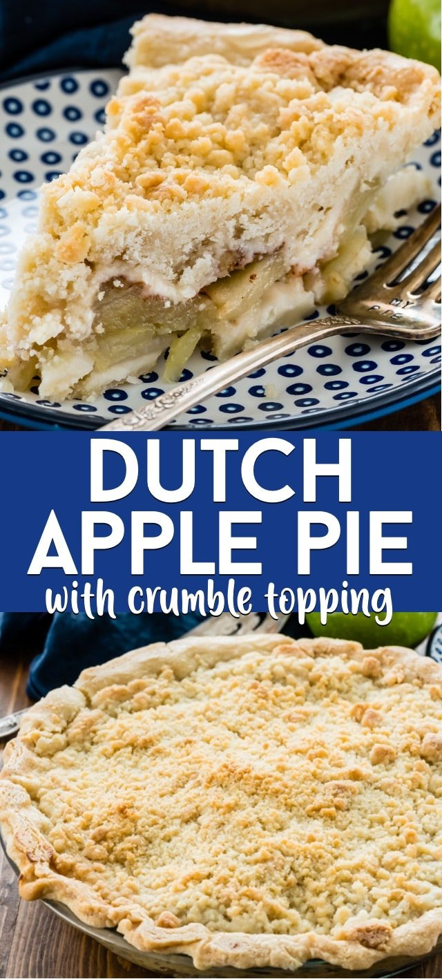 Dutch apple pie collage with crumble topping slice on a blue plate with title.