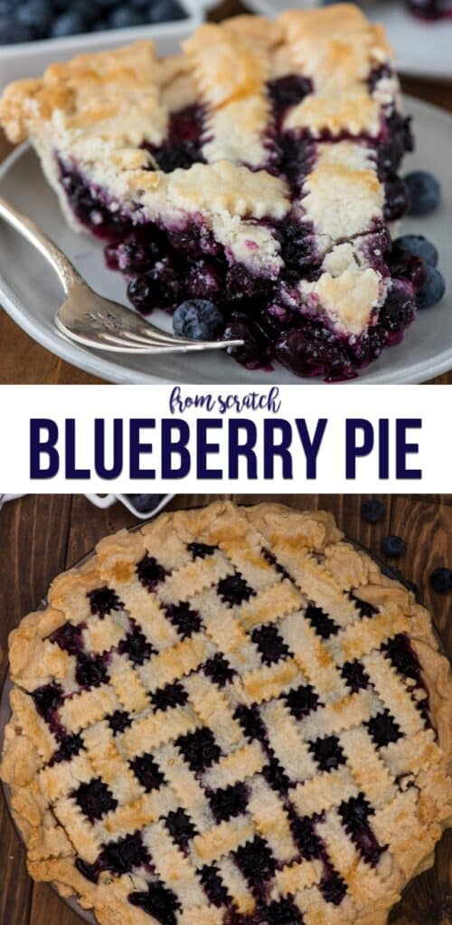 collage of blueberry pie photos