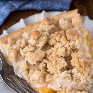 slice of peach pie