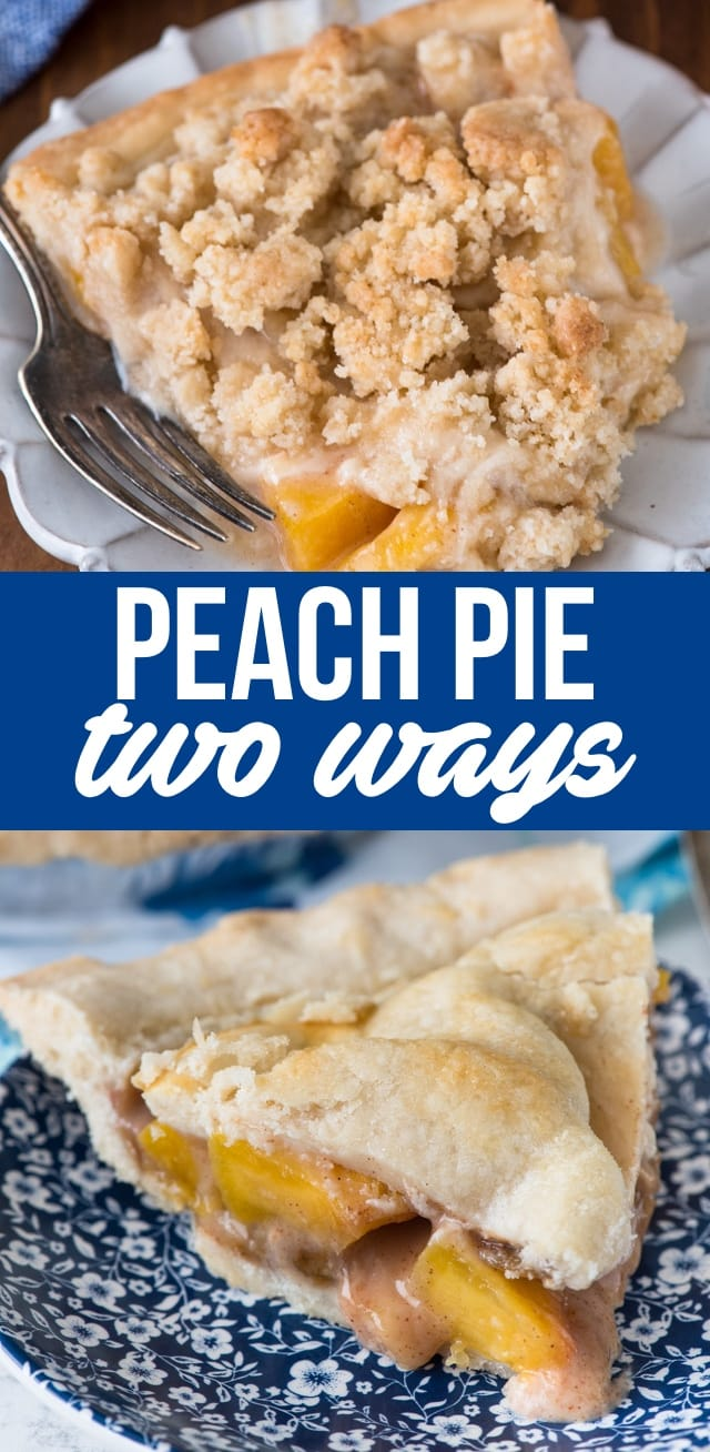 Peach Pie is such an easy pie recipe. Make this easy peach pie with a crumble topping or as a double crust pie or even with a lattice! It's the perfect peach pie recipe.