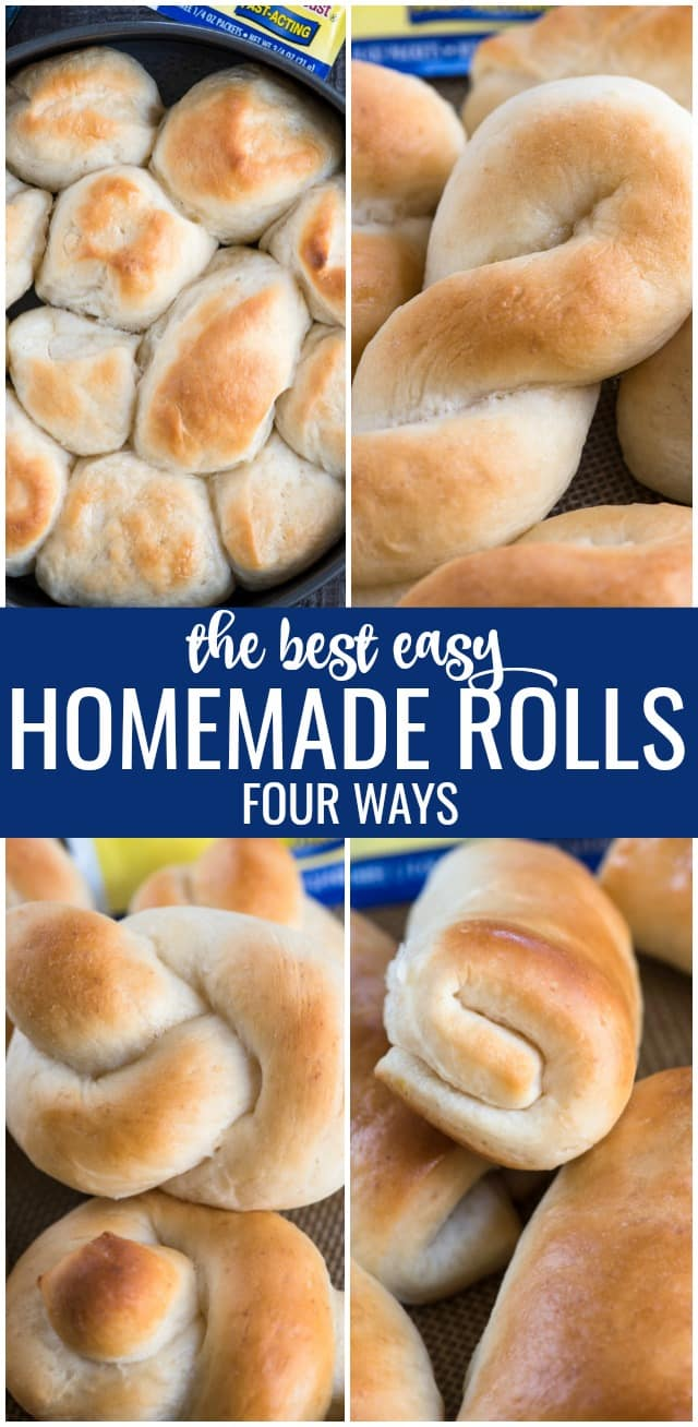 Buttery Homemade Rolls are the perfect dinner roll recipe! These are soft and buttery and perfect made four different ways! Make these rolls into twists, knots, or even butter rolls easily with just a few simple steps.