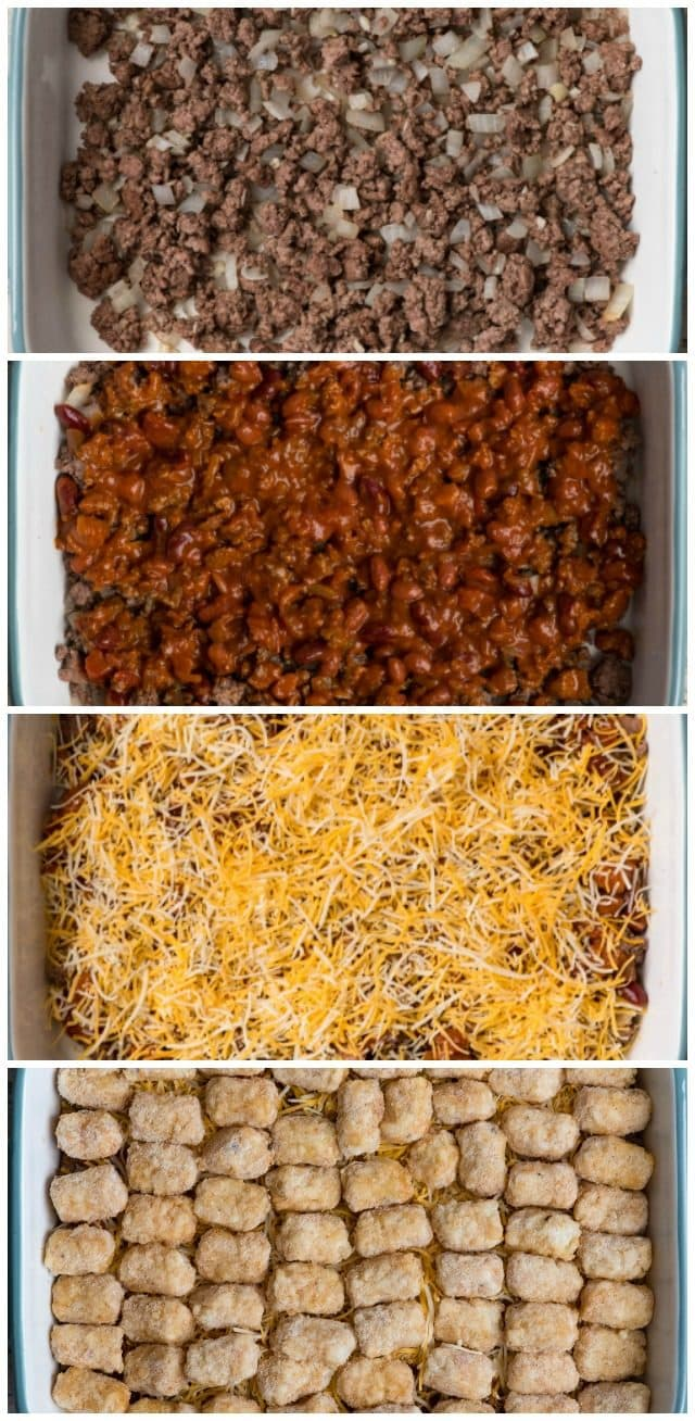collage of how to make chili tater tot casserole