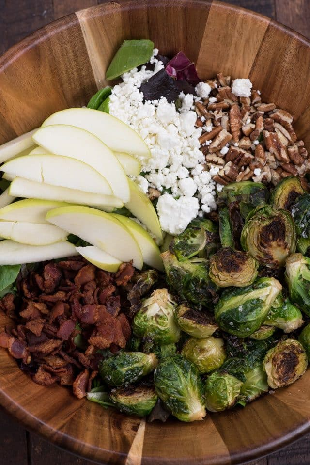 overhead of Brussels sprout salad