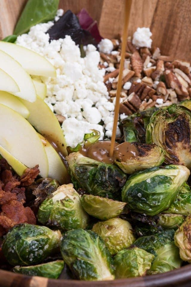 salad dressing on brussels sprout salad