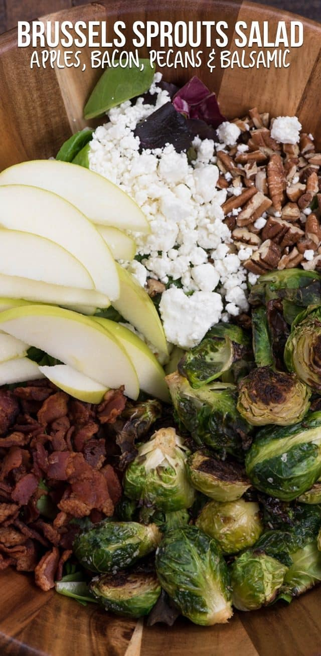 overhead shot of Brussels sprout salad
