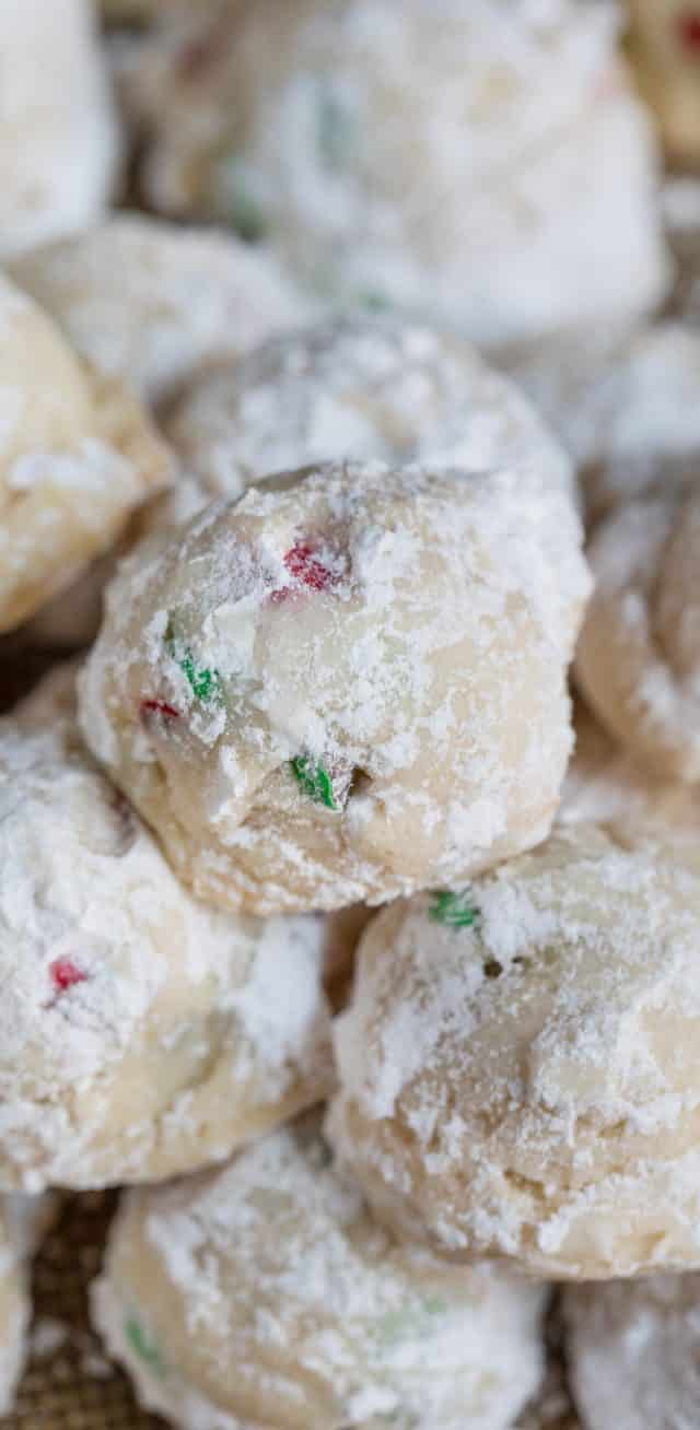 snowball cookies with M&Ms