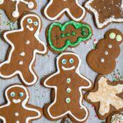 overhead shot of gingerbread cookies