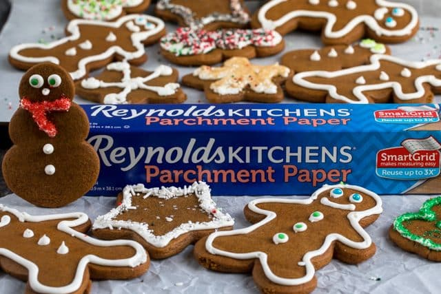parchment paper with gingerbread cookies