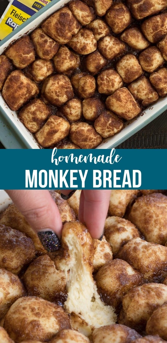 Homemade Monkey Bread is so much easier than you think! This from scratch version of a cinnamon pull-apart is the perfect brunch recipe!
