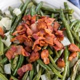 roasted green beans on plate
