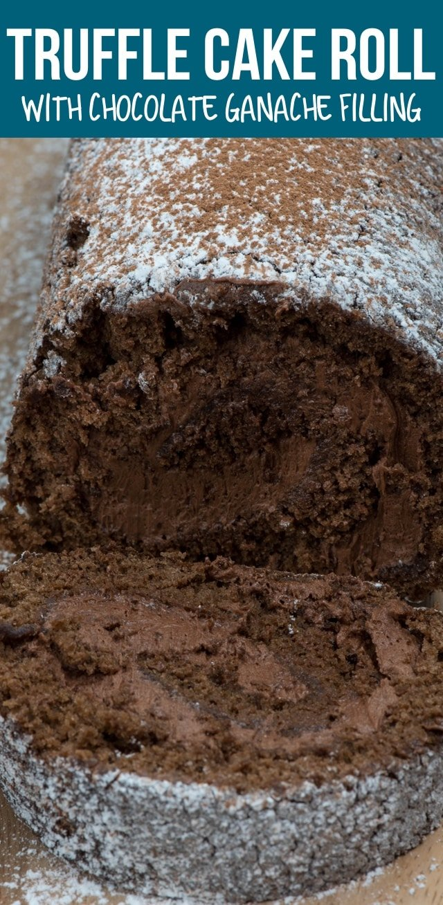This Truffle Cake Roll is a death by chocolate cake with a ganache filling! It's the perfect cake roll recipe for chocolate lovers.